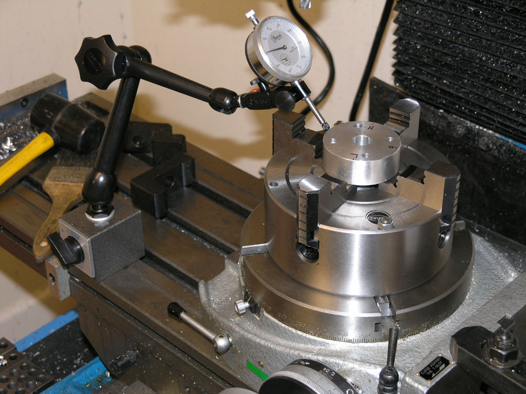 "The Adapter and 4 Jaw Chuck for Mounting On A 8/"" Rotary Table"