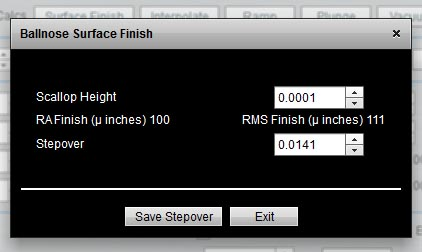 ballnose surface finish calculator