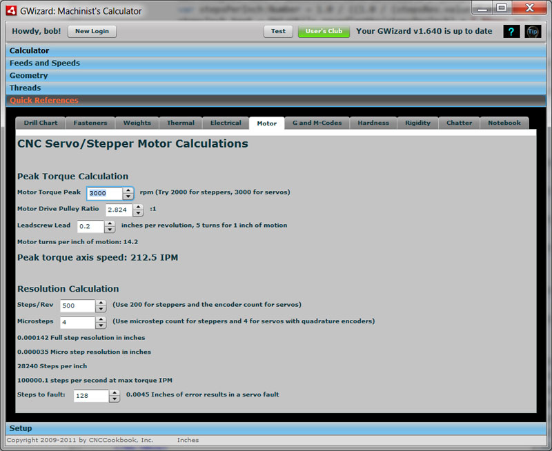 step and servo motor sizing software for cnc cnccookbook