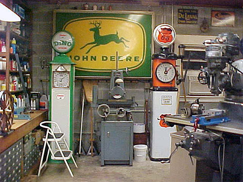 Surface grinder, mill, parts storage, and cool pumps and sign